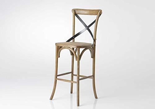 Amadeus Chaise de Bar bistrot croisillons Paille Naturel
