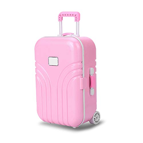 Dolls Travel Suitcase, Mini Size Trolley Case with Open and Close Carry On Luggage Simulation Rolling Suitcase Toy(Pink)