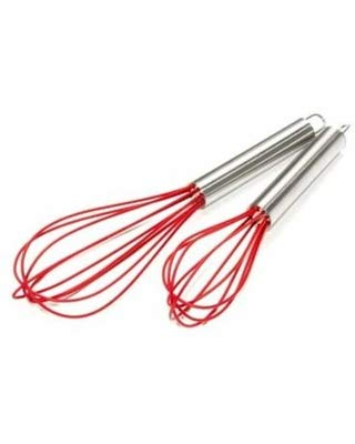 Art and Cook Stainless Steel Whisk Set with Silicone Head, Red