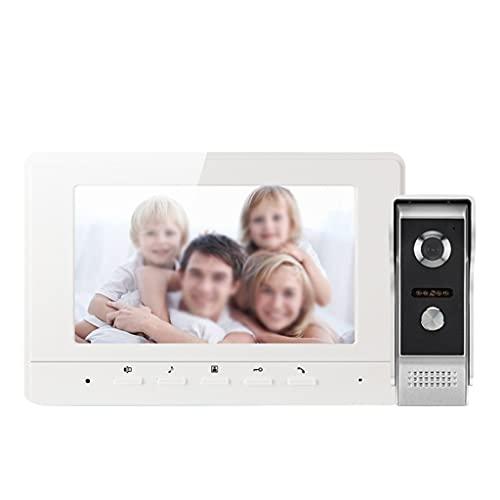 YUTRD ZCJUX Video Doorbell Intercom Sistema De Intercomunicación De 7 Pulgadas 1000 TVL Video Portátil Pantalón De Entrada Día Noche Visión De La Noche para La Seguridad del Hogar (Color : White)