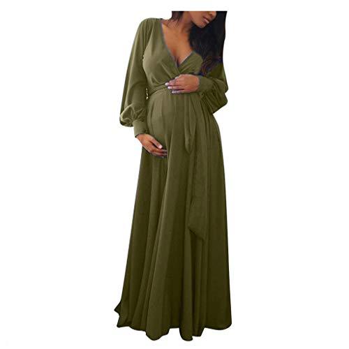 URSING Umstandskleid Stillkleid Damen Schwangerschafts Kleid für Schwangere V-Ausschnitt Langarm mit Taillengürtel Fotografie Schwangerschaftskleid Strandkleider Festlich Kleider