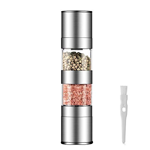 2 in 1 Salt and Pepper Grinder Set,Stainless Steel Salt Grinder with Adjustable Ceramic Rotor, Salt Mill and Pepper Mill Shaker,Dual Mill Spice Jar with Brush -by HAUEA (Stainless Steel)