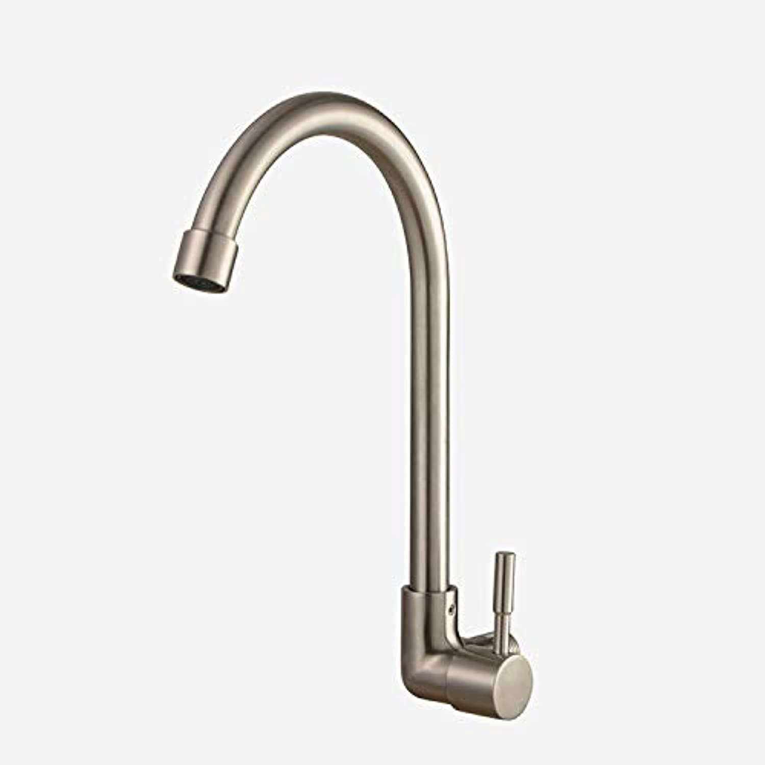 Zwj-song Kitchen Cold and hot Water Faucet Kitchen Brass redary Nozzle Traditional Double Lever Single Handle Kitchen Sink redary Nozzle Double Nozzle Double Lever 319 Stainless Steel Mixer