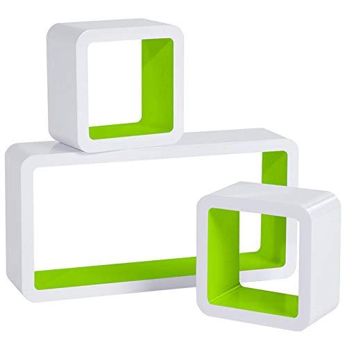 WOLTU RG9229gn Wandregal Cube Regal 3er Set Bücherregal Regalsysteme, Retro Hängeregal Würfel,...