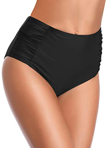 SHEKINI Ropa de Baño para Mujer Traje de Baño Vintage Cintua Alta Bikini Fondo Sexy Volantes Natación Retro Fruncido Estilo Trjes de Baño(Small, Negro)