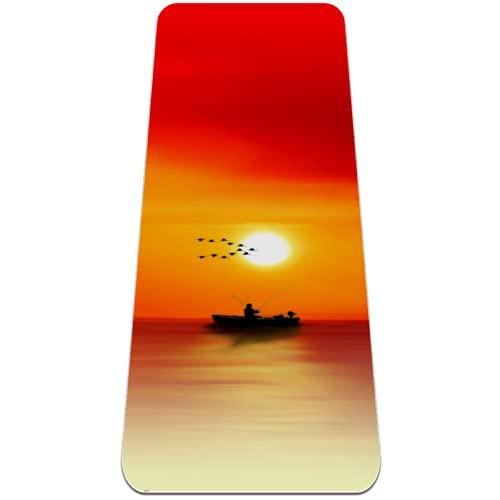 Ocean Sunset con bote extra grueso, tapete de yoga respetuoso con el medio ambiente, antideslizante, para todo tipo de yoga, pilates y ejercicios de piso, 183 x 61 cm