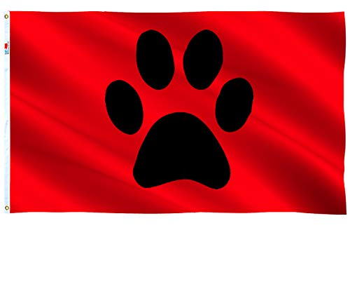 Pet Paw Flag 2.5x5 Ft , Moderate-Outdoor Both Sides Coated nylon ,Canvas Header and Double Stitched - 2.5' x 5' Black Paw Print Flags Cute Cartoon Animal Footprint E.g. Dog or Cat Foot Print Flag