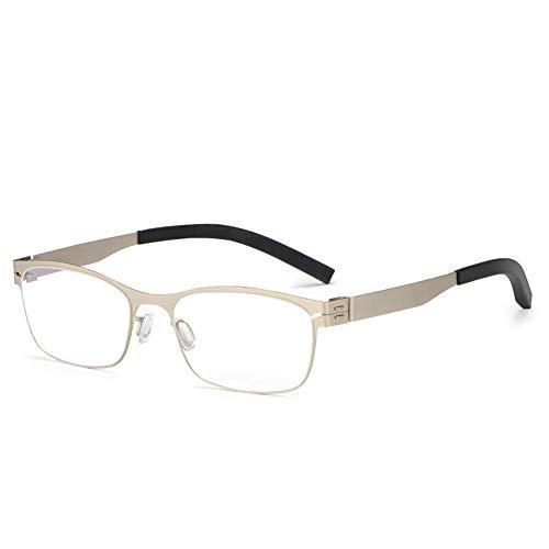 CAOXN Gafas De Lectura Anti-Azules De Alta Definición, Lupa De Lente De Resina Antifatiga con Marco Rectangular De Negocios para Hombres 1.56,Oro,+2.00