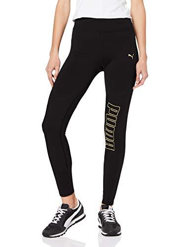 PUMA Logo 7/8 Graphic Tight Mallas Deporte, Mujer, Black-Gold PRT, S