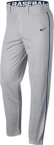 Nike Men's Swoosh Piped Dri-FIT Baseball Pants (Grey/Navy, Medium)