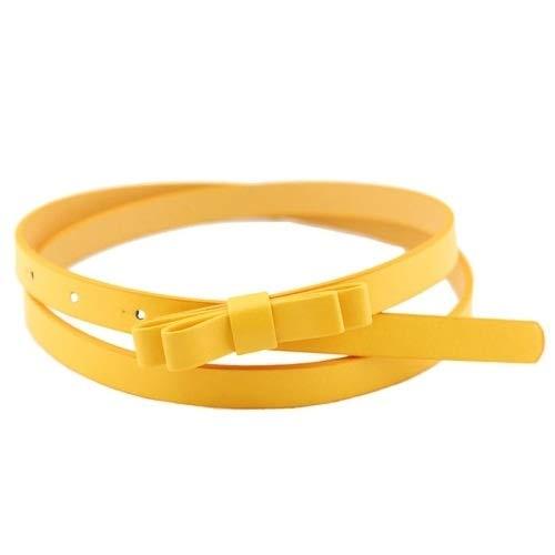 Morbido e Confortevole Cuoio 2 PCS Caramelle di Colore Arco-Nodo di fine Cinghia for Le Donne, Lunghezza: 1050 x 13mm (Verde) (Color : Yellow)
