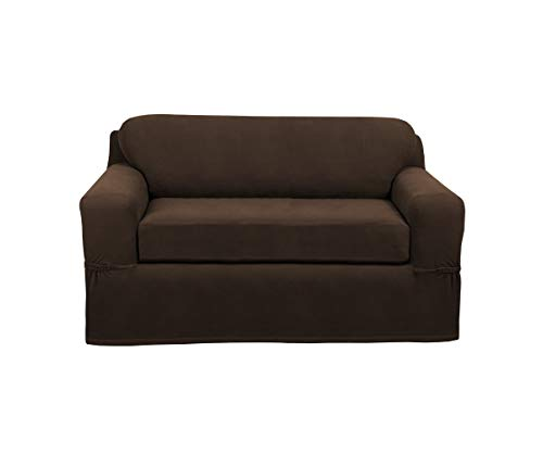 MAYTEX Pixel Ultra Soft Stretch 2 Piece Furniture Cover Loveseat Slipcover, Chocolate