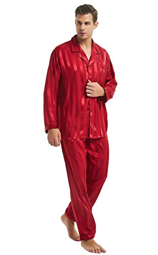 Mens Silk Satin Pajamas Set Sleepwear Loungewear Red S