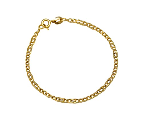 Bracciale in oro giallo 18Kt 750 da bambini e neonati unisex classico a catena con doppie maglie ovali lunghezza 15 cm