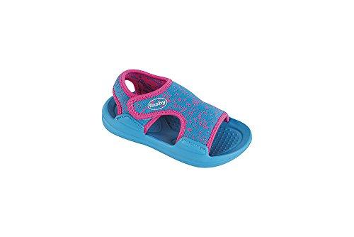 Fashy® Kleinkinder-Sandale Badeschuhe Strandschuhe mit doppeltem Klettverschluß in 2 Farben erhältlich - (Made in Germany) Türkis/Rosa 23/24 EU