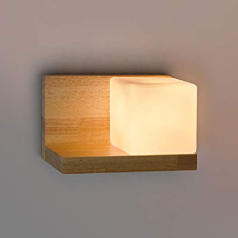 SPA  Oak Square Zucker Wandleuchte Retro Restaurant Gang Bar Nachttischlampen Holzglas Doppelkopf Einzelkopf Wandleuchte Holzfarbe E27 (Gre  Einzelkopf)