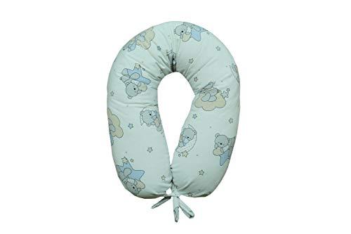 Cojín de lactancia y embarazo de maternidad completo XXL desenfundable lavable Made in Italy Variantes disponibles (osos celestes)
