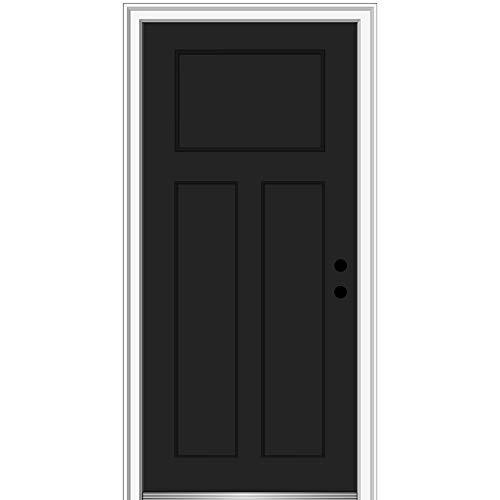 """National Door Company ZZ15481L Fiberglass Smooth Black, Left Hand In-swing, Prehung Front Door Craftsman 3-Panel, 36"""" x 80"""""""