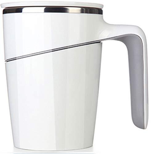 DXIUMZHP Thermos Couvert Tasse, Tasse À Café en Acier Inoxydable, Coupe Thermos, Base Ventouse, Acier Inoxydable sans Verser La Coupe, La Coupe du Bureau, (Color : Blanc, Size : 470ML)