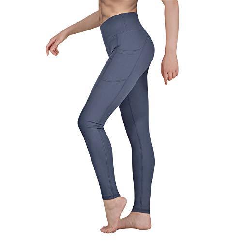 Occffy Sporthose Damen Yogahose Fitnesshose Laufhose Yoga Tights Sport Leggings für Damen mit Taschen P107 (Nebelgrau, S)