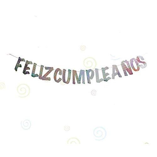 Unishop Guirnalda de Feliz Cumpleaños con Letras Plateadas, Decoración de Fiesta de Cumpleaños de Colores