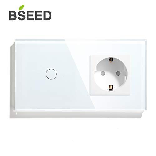 BSEED Berührungssensor Wandlichtschalter und AC Steckdose Glasscheibe Einbauleuchten 1 Fach 1 Weg Weiß