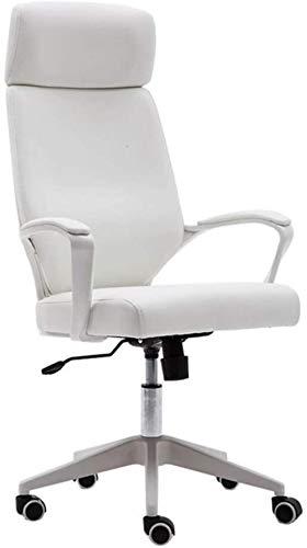 Silla de Oficina Imitación de cuero giratoria de escritorio sillas de respaldo alto de Ministerio del Interior del ordenador heces Silla de Ruedas de nylon 5, 8Cm altura ajustable ( Color : White )