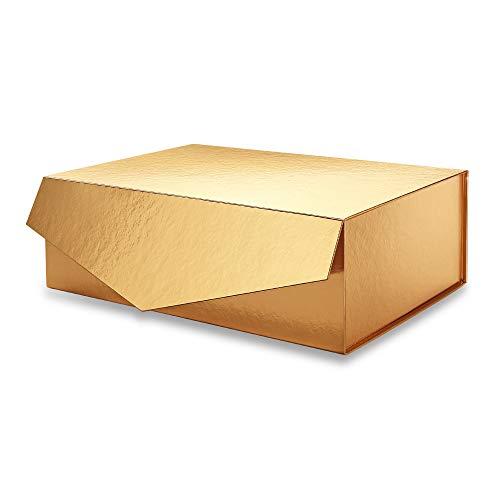 PACKHOME Große rechteckige Geschenkbox 35,5x24x11,5 cm, Brautjungfer Geschenkbox, Robuste Aufbewahrungsboxen, faltbare Geschenkbox mit magnetischem Verschluss (Glänzendes Gold, 1 Box)