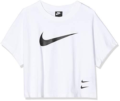 NIKE W NSW Swsh Top SS Camiseta de Manga Corta, Mujer, White/(Black), S