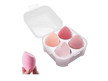 SINEN 4 Pcs Dry and Wet Use Makeup Sponge Set Blender Beauty Foundation Blending Sponge for Liquid Cream and Powder with Egg Sponge Blending Holder Box