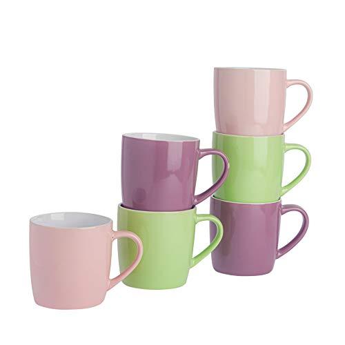 Argon Tableware Tasses à thé/café en céramique - coloré/Moderne - 340 ML - Rose/Violet/Vert - Lot de 6