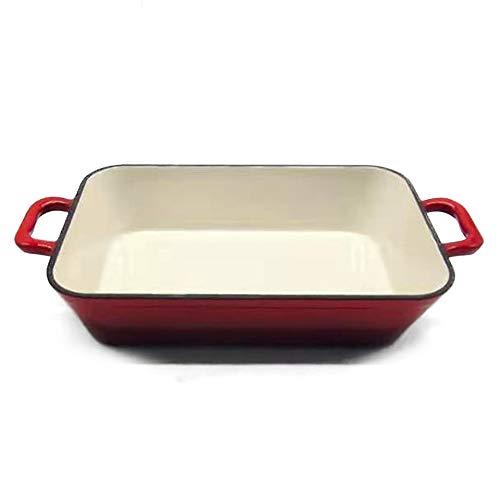 FireRocket 33.4 x 22.2 x 6cm ca. 5 Liter Gusseisen Auflaufform Bräter Induktion Emailliert Lasagneform für Ofen Grill Weiß-Rot Rechteckig