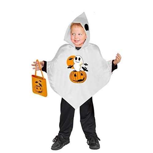 Ciao- Baby Poncho Fantasmino (Taglia Unica 3-6 Anni) con Borsetta portadolci Dolcetto o Scherzetto Costume, Colore Bianco, 62326