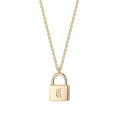 Osiana Gold Dainty Initial Necklace Lock Necklace 18K Gold Plated Padlock Necklace Letter Necklaces for Women Minimalist Personalized Jewelry(C)