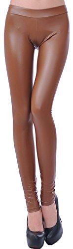 krautwear Damen Mädchen Hose Leggings Jeggings Eng Ohne Muster Leder Look Schwarz Khaki 32 34 36 38, Khaki, S