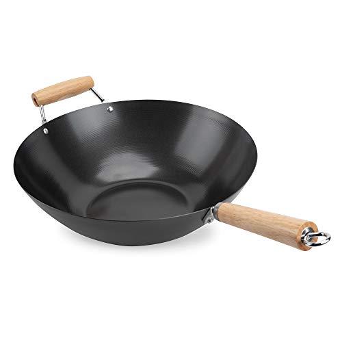 Aroma Housewares 14quotquot Heavy Duty Carbon Steel Cookware ANW102 NonStick Wokquot black