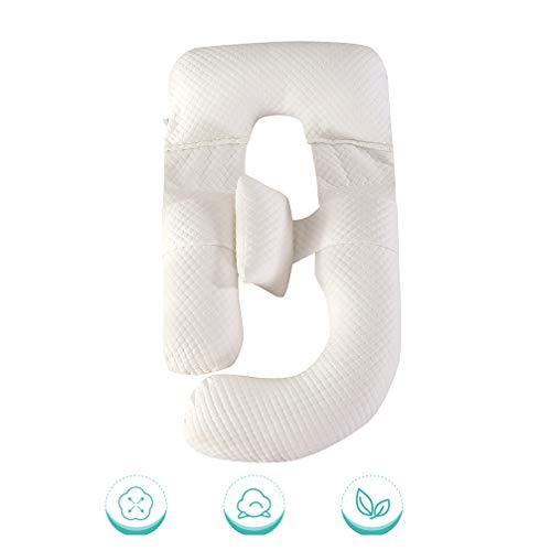 G Gevormde Deluxe Full Body Knuffelig Zwangerschap Ondersteuning Kussen Zwangere vrouw kussen bamboe vezel wasbaar,White,85x130x185cm