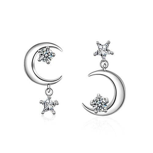 Pendientes colgantes de estrella de luna creciente para mujeres y niñas de plata de ley 925 con circonita cúbica de cristal