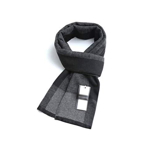 WPBOY Schal für Herren, groß, Herbst/Winter, weich, modisch, dick, lang, kariert, ideales Geschenk für Familie und Freunde (Farbe: Schwarzgrau)