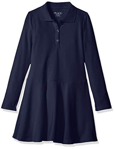 The Children's Place Big Girls' Long Sleeve Polo Dress, Tidal, M (7/8)