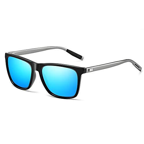 Gimdumasa gafas lentes de sol retro vintage polarizadas para hombres de mujer GI777 (Montura negra con lente azul)