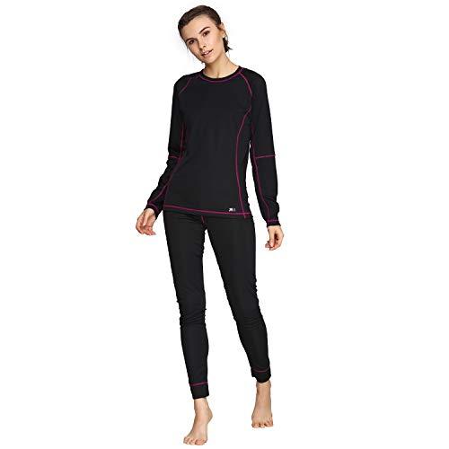 Women's Thermal Base Layer Winter Set Underwear Sports Fitness Workout 2pc Purple Shirt & Pants (Black, M)