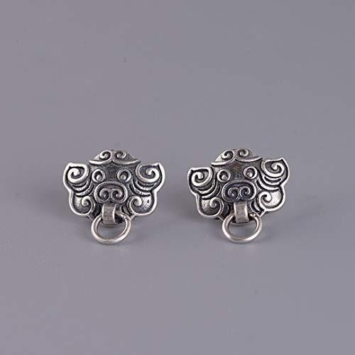 zhenfa S925 Silber Ohrringe, Oriental Lucky Monster Silber Ohrringe, Vintage Gravur, hypoallergen, mit Schmuckschatulle, geeignet für Fraue