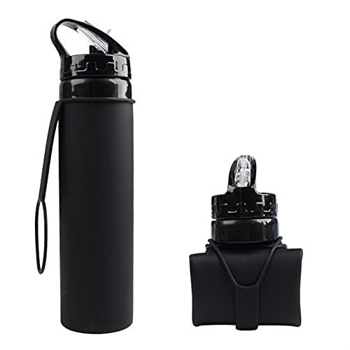 ERTERT Botella de Agua de Moda Fugas a Prueba de Fugas Botella de Agua portátil de Interior Oficina de Senderismo Camping Camping Kettle Sport 600ml (Color : Black)