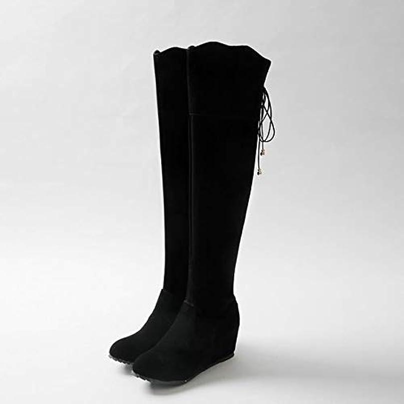 [AHZHDXZM] レディーススティレットブーツプラットフォーム大きいサイズ女性ニーハイブーツ分厚い??丸いつま先春秋靴丸いつま先少ないプラットフォームブーツ6黒女性用ハイヒールヒール