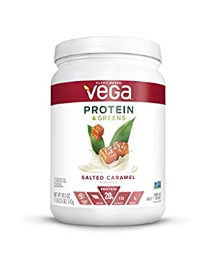Vega Protein and Greens, Salted Caramel, Vegan Protein Powder, 20g Plant Based Protein, Low Carb, Keto, Dairy Free, Gluten Free, Non GMO, Pea Protein for Women and Men, 1.1 Pounds (17 Servings)