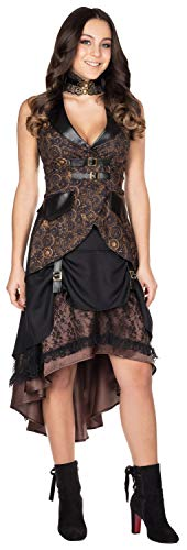 Rubie's Steampunk Rock braun Größe 44 Damen Ziffernblatt Aufdruckt Karneval Kostüm Kleid