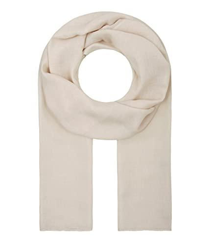 Majea Tuch Lima schmal geschnittenes Damen-Halstuch leicht uni einfarbig dünn unifarben Schal weich Sommerschal Übergangsschal (creme)