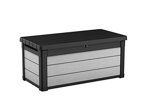 Keter Baule Denali Truhe für den Außenbereich oder den Garten in Holzoptik mit 270 Liter Fassungsvermögen, grau, 270 litri
