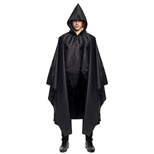 Chubasquero Hombre Mujer Unisex Impermeable Poncho Lluvia con Capucha Negro【Tallas Adultos S...
